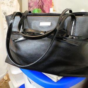 Kate Spade Black Leather Tote Handbag Patent Bow